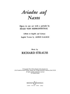 Richard Strauss: Ariadne Auf Naxos Op.60 Books | Libretto
