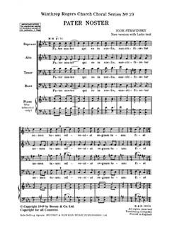 Igor Stravinsky: Pater Noster (SATB - Latin Text) Books | SATB