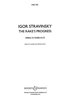 Igor Stravinsky: The Rake's Progress (Study Score - Hardback) Books | Opera
