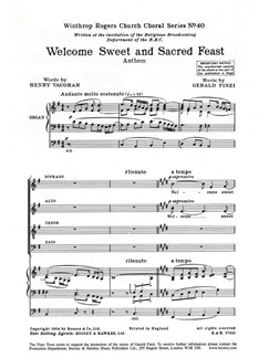 Gerald Finzi: Welcome Sweet And Sacred Feast Books | SATB, Organ Accompaniment