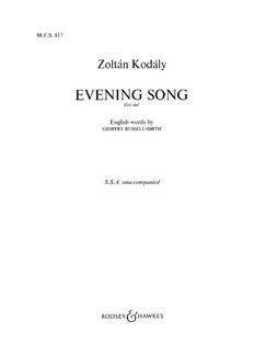 Zoltan Kodaly: Evening Song (Esti Dal) Books | SSA