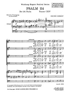 Zoltan Kodaly: Psalm 114 (SATB) Books | SATB, Organ Accompaniment