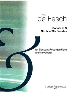 Willem De Fesch: Sonata in G for Descant Recorder and Continuo Books | Soprano (Descant) Recorder, Flute