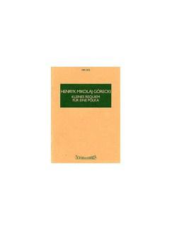 Henryk Mikolaj Gorecki: Kleines Requiem Fur Eine Polka Op.66 (Miniature Score) Books | Chamber Group, Piano Chamber