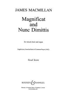 James Macmillan: Magnificat And Nunc Dimittis Books | SATB, Organ Accompaniment
