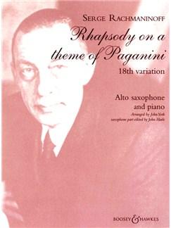 Serge Rachmaninoff: Rhapsody On A Theme Of Paganini 18th Variation (Alto Saxophone/Piano) Books | Alto Saxophone, Piano Accompaniment
