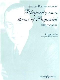 Rachmaninov: Rhapsody On A Theme Of Paganini 18th Variation Books | Organ