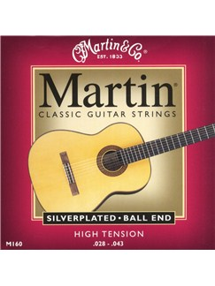 Martin: M160 Silverplated/Ball End Classical Guitar Strings - High Tension  | Classical Guitar