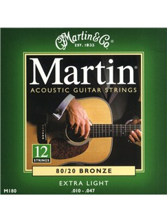 Martin: M180 12 String Acoustic Guitar Strings - Extra Light  | Acoustic Guitar