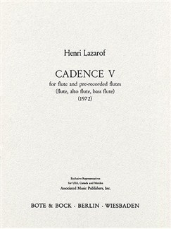Henri Lazarof: Cadence 5 Books | Flute, Alto (Treble) Recorder, Bass Flute