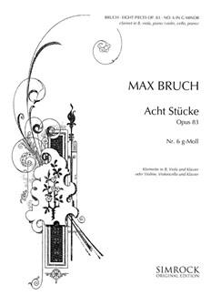 Max Bruch: 8 Pieces Op.83 No.6 Books   Clarinet, Viola, or  Violin, Cello with Piano