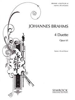 Johannes Brahms: 4 Duets Op.61 Books | Piano Accompaniment, Soprano, Alto