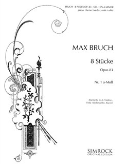 Max Bruch: 8 Pieces Op.83 No.1 In A Minor Books | Clarinet, Violin, Viola, Cello, Piano Chamber