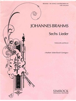 Johannes Brahms: 6 Songs (Cello and Piano) Books | Cello, Piano Accompaniment