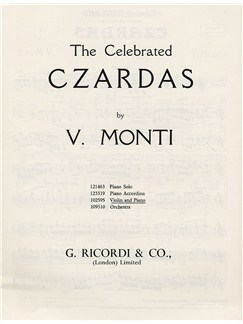 Vittorio Monti: The Celebrated Czardas (Violin) Books | Violin, Piano Accompaniment
