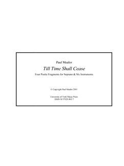 Paul Mealor: Till Time Shall Cease (Score) Books | Soprano, Ensemble