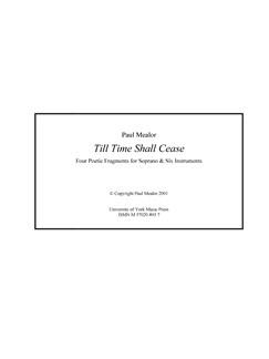 Paul Mealor: Till Time Shall Cease (Score) Books | Soprano, Ensemble