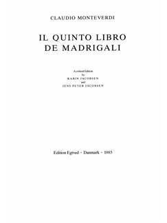 Claudio Monteverdi: Il Quinto Libro De Madrigali  (Critical Edition) Books | Choral