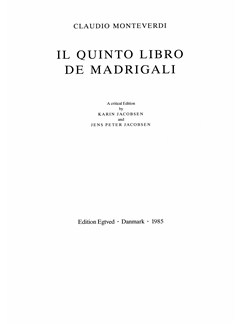 Claudio Monteverdi: Il Quinto Libro De Madrigali  (Critical Edition) Bog | Kor