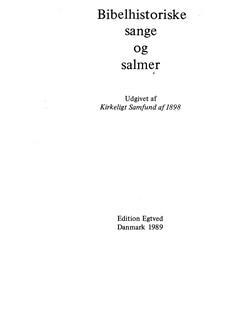 Bibelhistoriske Sange Og Salmer (Songbook) Libro | Línea de Melodía, Texto y Acordes