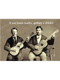 Mildew Design: Basic Maths, Guitars = Chicks - Greeting Card   