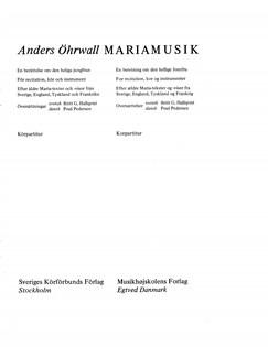 Anders Öhrwall: Mariamusik (Choral Score) Books | SATB