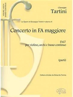 Giuseppe Tartini: Volume 04: Concerto in Fa Maggiore D 67 per Violino, Archi e Basso Continuo (Parti) Books | Violin, Ensemble