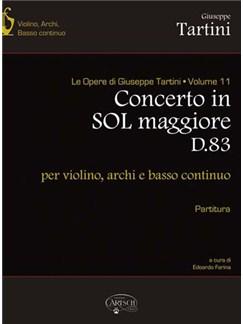 Giuseppe Tartini: Volume 11: Concerto in Sol Maggiore D83 (Partitura), per Violino, Archi e Basso Continuo Libro | Violín, Conjunto de Escuela