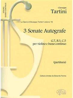 Giuseppe Tartini: Volume 16: 3 Sonate Autografe (G7, B3, C5)  per Violino e Basso Continuo (Partitura) Books | Violin, Ensemble