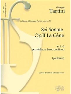 Giuseppe Tartini: Volume 17: 6 Sonate Op.II La Cène, N. 1-3  per Violino e Basso Continuo (Partitura) Libro | Violín, Conjunto de Escuela
