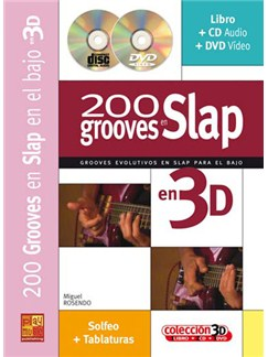 200 Grooves en Slap en 3D CD, DVDs / Videos y Libro | Bass Guitar
