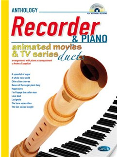 Animated Movies and TV Duets for Recorder And Piano Books and CDs | Soprano (Descant) Recorder, Piano Accompaniment