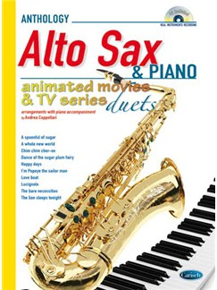 Animated Movies and TV Duets for Alto Sax And Piano Books and CDs | Alto Saxophone, Piano Accompaniment