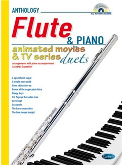 Animated Movies and TV Duets for Flute And Piano CD et Livre | Flûte Traversière, Piano