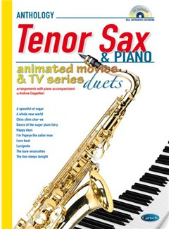 Animated Movies and TV Duets for Tenor Sax And Piano Books and CDs | Tenor Saxophone, Piano Accompaniment