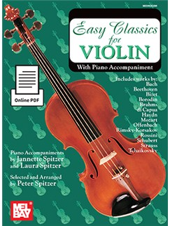 Arr. Peter Spitzer: Easy Classics For Violin - With Piano Accompaniment (Book/Online PDF) Books and Digital Audio | Violin