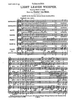 Gustav Holst: Light Leaves Whisper Libro | SATB