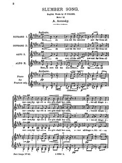 Anton Arensky: Slumber Song Libro | SSAA