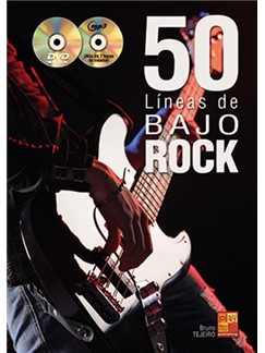 Bruno Tejeiro: 50 Líneas De Bajo Rock (Libro/CD/DVD) CD, DVDs / Videos et Livre | Guitare Basse