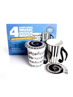 Mug And Lid: Music Notes - Pack Of Four  |