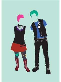 Fashion Vs Music: Punk - Greeting Card  |