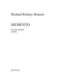 Richard Rodney Bennett: Memento Books | Violin, Piano Accompaniment