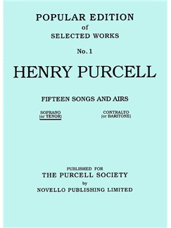 Henry Purcell: Fifteen Songs And Airs Set 1 (Soprano Or Tenor) Books | High Voice, Piano Accompaniment