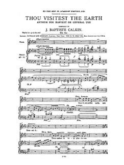 J. Baptiste Calkin: Thou Visitest The Earth Books | SATB, Organ Accompaniment