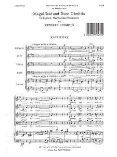 Kenneth Leighton: Magnificat And Nunc Dimittis (Magdalen Service) Books | Soprano, Alto, Tenor, Bass, Organ