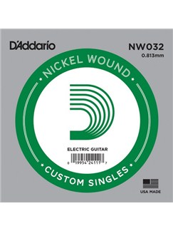 D'Addario: NW032 Nickel Wound Electric Guitar Single String, .032  | Electric Guitar
