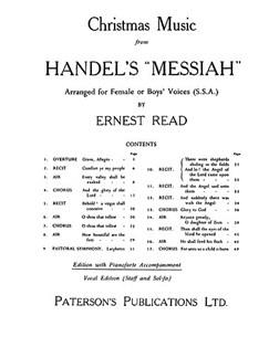G.F. Handel: Christmas Music From Messiah (SSA) Books   2 Sopranos, Alto, Piano