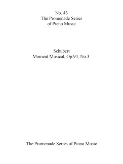 Schubert: Moment Musical, Op.94, No.3 (No.43) Books | Piano