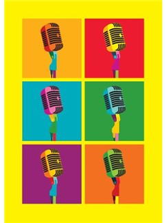Pop Art: Microphone - Greeting Card  |