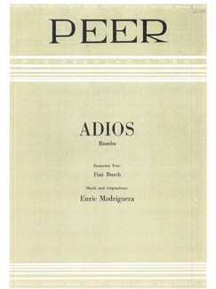 Enric Madriguera: Adios Books | Piano & Vocal